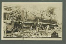 Dellvale KANSAS RPPC c1910 TRAIN WRECK Disaster nr Norton GHOST TOWN Zercher