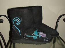 Ugg 5251 Classic Short Black Boots Sz 3 Girls Shoes Limited Ed Painted Flower