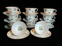 KYOTO CHINA LANCASTER 7202 JAPAN PINK DAINTY ROSES 11 FOOTED CUPS & SAUCERS