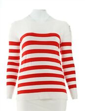 Attitudes Renee Stripe Sweater Lace-Up Shoulder Red Hot L NEW A305370