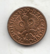 POLAND 1 GROSZY 1939 COPPER UNC         17P        BY COINMOUNTAIN