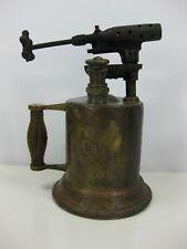 Antique Blow Torch Brass Wood Handle