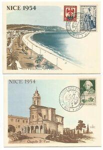 2 Cartes Postales Nice 1954 27ème Congrès Philatélique