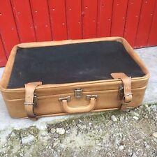 ancienne valise semi-souple 2 tons skaï+ tissu + lanières vintage années 60/70