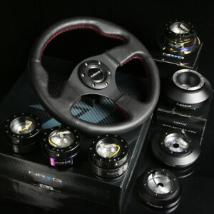 NRG 120H HUB+GEN 1.5 QUICK RELEASE+LEATHER RED STITCHES STEERING WHEEL BLACK