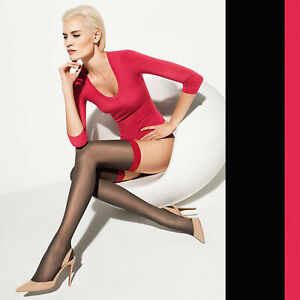 Wolford Eyla Stay-Up - L - black rose red ...schmales Satinband in kokettem Rot