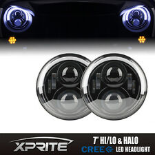 H4 100W 7'' LED Projector G3 Headlight White DRL Halo Angel Eyes Jeep Wrangler