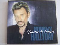 CD SINGLE DE JOHNNY HALLYDAY , PARTIE DE CARTES , AVEC FICHE , COMME NEUF .