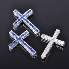 5pcs 35x25mm Silver & Blue Metal Cross & Crystal Connectors DIY Craft Findings