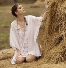 """Caftano Bianco Cotone+Uncinetto Crochet """"Vestopazzo"""" Tg. L/XL in saldo"""