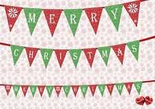 Merry Christmas text red and green mix Bunting Banner 16 flags by PARTY DECOR