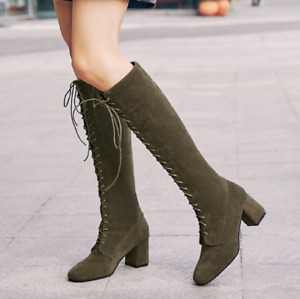 Womens Suede Lace-up Shoes Mid Calf Boots Block Heels Casual Square Toe US4-10.5