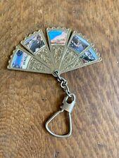 Vintage Metal Fan Car Key Chain, 5 Fan Pieces w/ Coastline Pictures.