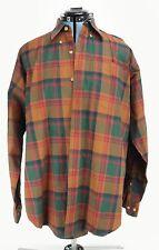 Mens Orvis 100% Cotton Plaid Button Front Shirt Medium