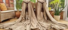 """HUGE PAIR TAUPE SILK INTERLINED CURTAINS 82"""" DROP BY 100"""" WIDTH 1 OF 3 PAIRS"""