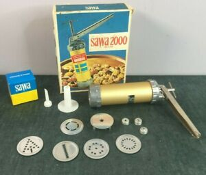 Swedish Sawa 2000 Deluxe Cookie and More Press w/ 6 Discs Piping Box