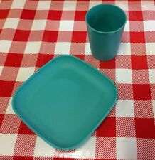 VTG Kids Play Food Tupperware Tuppertoy MINI Plate Cup Replacement Set Turquoise