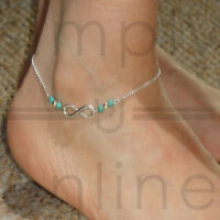 Turquoise Beads Infinity Ankle Bracelet Foot Silver Chain Anklet