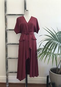 Shakuhachi Claret Midi Wrap Dress with Waist Tie - Size 8