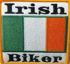 IRISH BIKER WITH IRELAND FLAG EMBROIDERED Patch W/ VELCRO Brand Fastener
