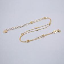 "Solid 18k Yellow Gold Bracelet Double O Chain + Mini Beads Link Bracelet 6.89""L"