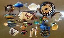 Fish Wall Art Collection 22 Piece Made of Wood, Metal, Clay, Straw, Wax, Rubber