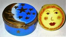 LIMOGES BOX - SLEEPING MAN IN THE MOON & GOLD STARS - REMOVABLE SUN FACE INSIDE