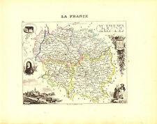 Carte du Département de la CREUSE, vers 1880. Migeon