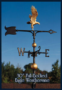 """Whitehall 30"""" Eagle Weathervane Full-Bodied Gold-Bronze with Mount!"""