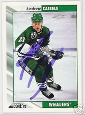 ANDREW CASSELS 1992 SCORE HARTFORD WHALERS AUTOGRAPHED HOCKEY CARD JSA