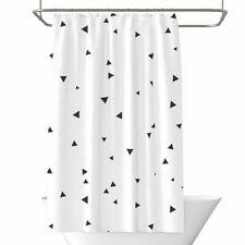 White Geometric Printed Shower Curtain Waterproof Bathroom Partition Polyester