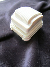 Vtg Art Deco Cream Ribs Ring Box with Corduroy Pad