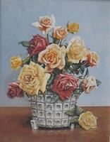 Still Life With Summer Roses GA Le Jeune Watercolour French School 1965