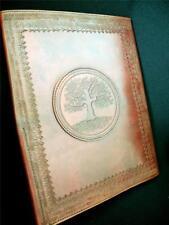A4 Luxury Handmade Leather Folder Binder Portfolio - Pagan Wicca Oak Tree