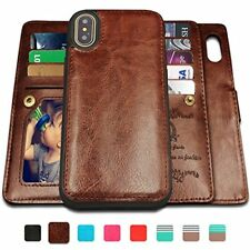 iPhone X Case,iPhone X Wallet Cases with Magnetic Detachable Case,9 Card Slots,W