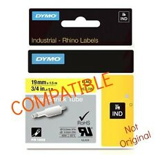 "DYMO Compatible RhinoPRO 19mm HeatShrink Cabl Label Tube 3/4""x 5' Blk/Yllw 18058"
