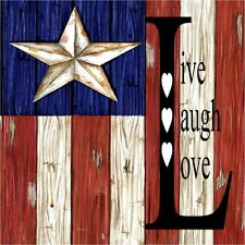 American Flag Live Laugh Love Coasters Set Of 4 Rubber Backed