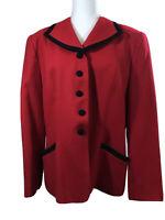 Pendleton Womens Blazer Virgin Wool 16 Red Jacket Black Trim Career USA