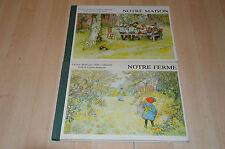 lot 2 livres illustrés par Carl Larsson : Notre Ferme, Notre maison - L Rudstrom