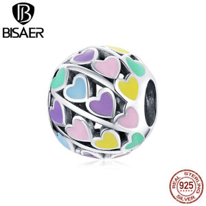 Bisaer Women Authentic S925 Sterling Silver Colorful hearts Charms Fit Bracelets