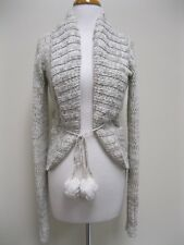 JUICY COUTURE Ivory Metallic Belted Cardigan Sweater Coat XS EUC