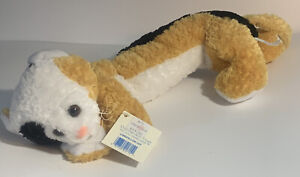 "Princess Soft Toys Longfellow Cat Plush Cat 2001 Brown Black White 15"" + 7"" Tail"