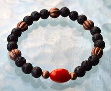 8mm Black Basalt Lava Stone Fire Agate Wrist Mala Beads Bracelet - Grounding, Fe
