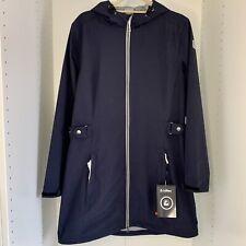Killtec Women's Navy Herringbone Raincoat Jacket hood windproof waterproof UK 16
