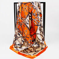 "Women's Orange Euro Fashion Print Soft Satin Square Head Scarf for Lady 35""*35"""