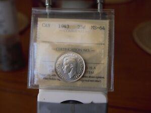 ICCS  1943  ms-64  Canadian 25 cent