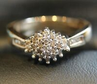 Secondhand 9ct Yellow Gold 0.25ct Multi Diamond Cluster Ring Size M
