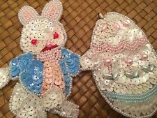 """Easter Bunny Rabbit Egg Pin Brooch Sequins 3"""" Set Lot 2 Decor Union Trading Co."""
