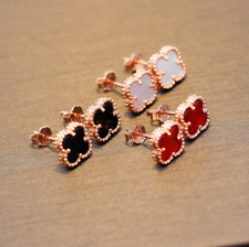 Rose Gold 925 Sterling Silver Black Onyx Shell Stud Earrings Christmas Gift S6