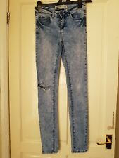 Womens NEW LOOK Skinny Blue Ripped Jeans UK 8 Stretch 32L Tall
